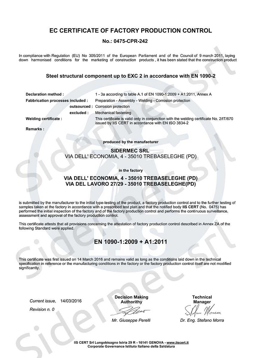Facsimile Certificazione Istituto Italiano della Saldatura