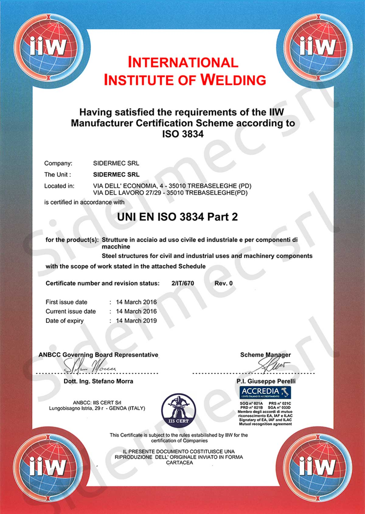 Certificato International Institute of Welding