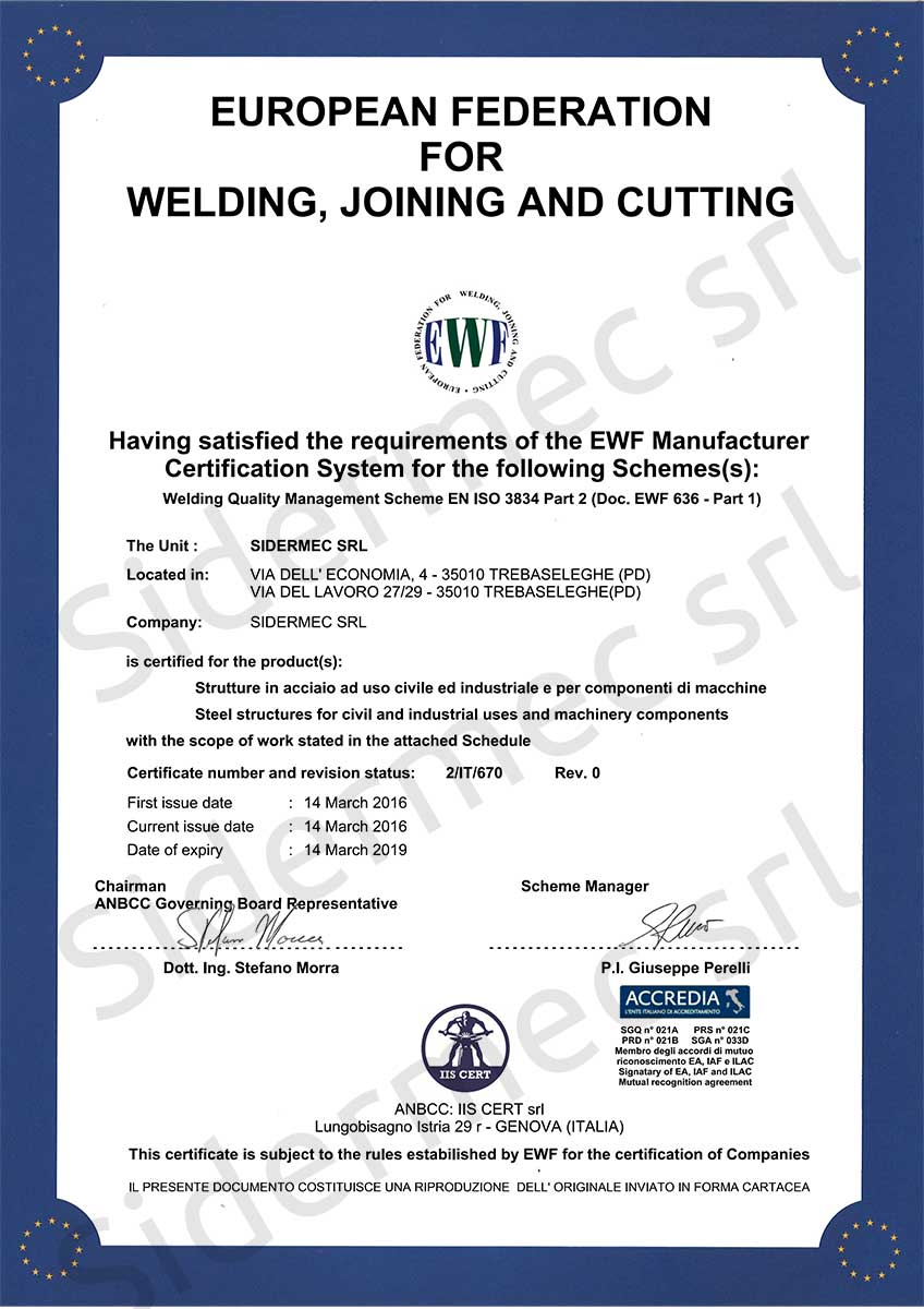 Certificato European Federation for Welding, Joining and Cutting